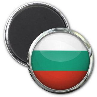 Bola de cristal redonda de la bandera de Bulgaria Imán Redondo 5 Cm