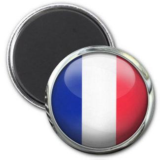 Bola de cristal redonda de la bandera de Francia Imán Redondo 5 Cm