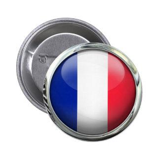 Bola de cristal redonda de la bandera de Francia Pin Redondo De 2 Pulgadas