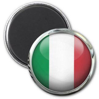 Bola de cristal redonda de la bandera de Italia Imán Redondo 5 Cm
