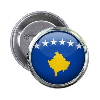 Bola de cristal redonda de la bandera de Kosovo Pin Redondo De 2 Pulgadas