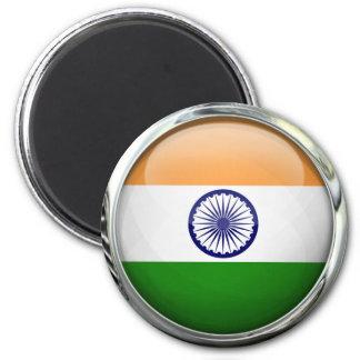 Bola de cristal redonda de la bandera de la India Imán Redondo 5 Cm