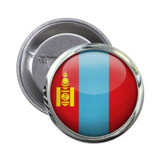 Bola de cristal redonda de la bandera de Mongolia Pin Redondo De 2 Pulgadas