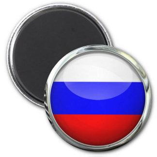 Bola de cristal redonda de la bandera de Rusia Imán Redondo 5 Cm