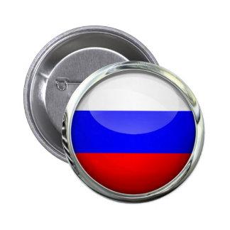 Bola de cristal redonda de la bandera de Rusia Pin Redondo De 2 Pulgadas