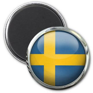 Bola de cristal redonda de la bandera de Suecia Imán Redondo 5 Cm
