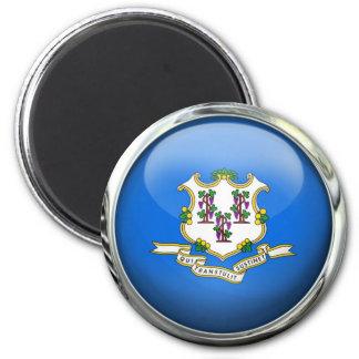 Bola de cristal redonda de la bandera del estado imán redondo 5 cm