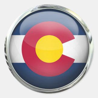 Bola de cristal redonda de la bandera del estado pegatina redonda
