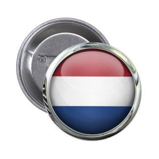 Bola de cristal redonda de la bandera holandesa pin redondo de 2 pulgadas