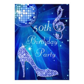 Bola de discoteca azul y cumpleaños de los talones comunicado personal