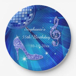 Bola de discoteca azul y cumpleaños de los talones plato de papel de 9 pulgadas