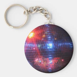 Bola de discoteca con los rayos laser llavero redondo tipo pin
