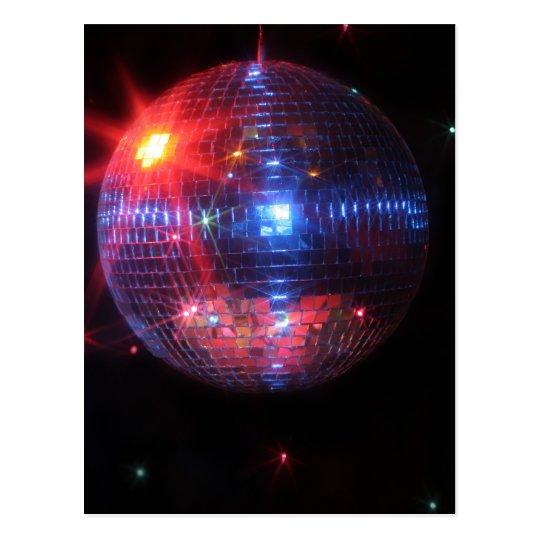 Bola de discoteca con los rayos laser postal