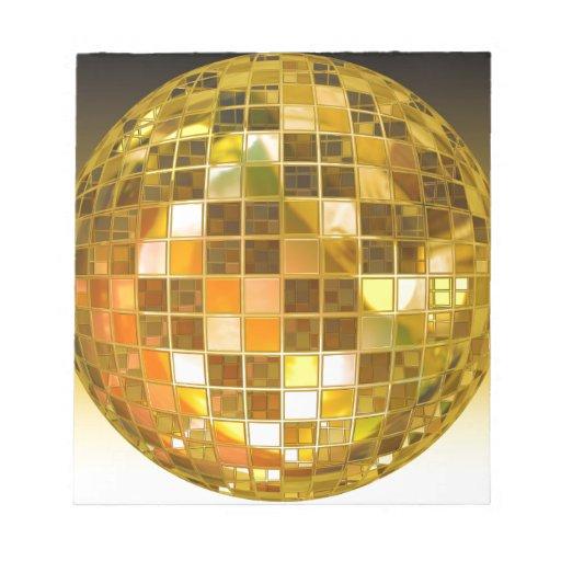 Bola de discoteca de oro libreta para notas