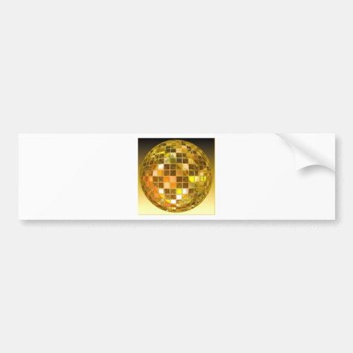 Bola de discoteca de oro pegatina de parachoque