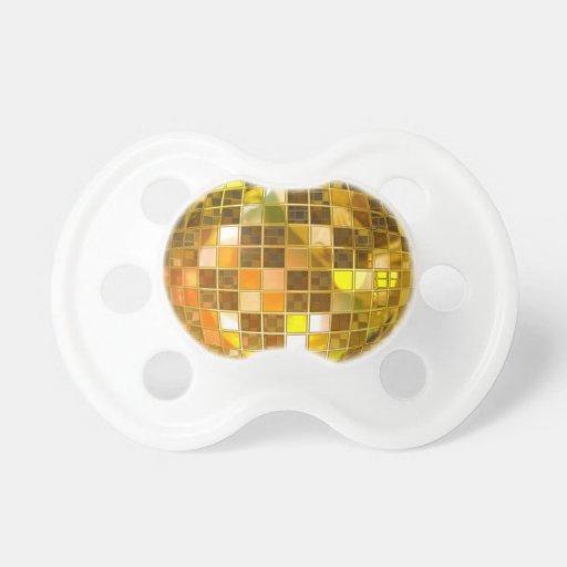 Bola de discoteca de oro chupete