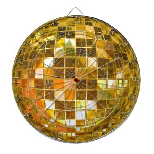 Bola de discoteca de oro tablero de dardos