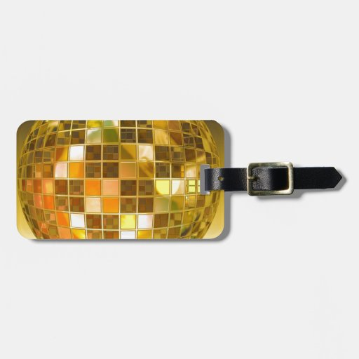 Bola de discoteca de oro etiqueta para equipaje