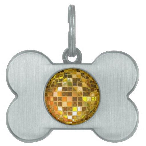 Bola de discoteca de oro placa de nombre de mascota