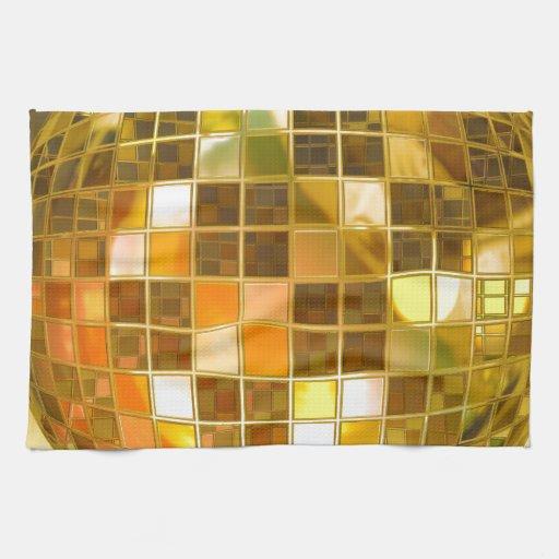 Bola de discoteca de oro toalla de cocina