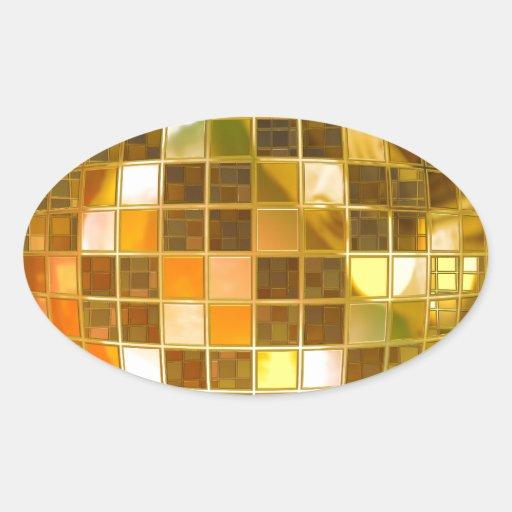 Bola de discoteca de oro calcomania de oval