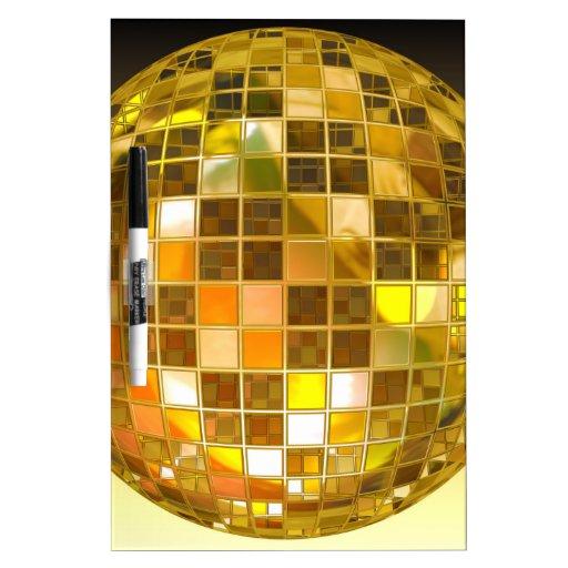 Bola de discoteca de oro tableros blancos