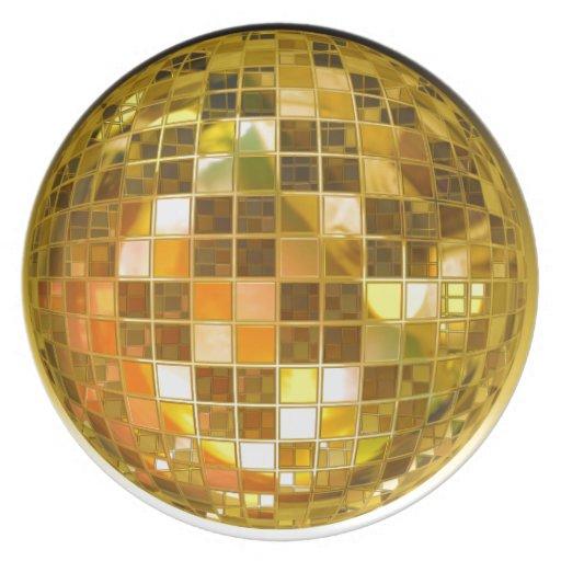 Bola de discoteca de oro plato de cena
