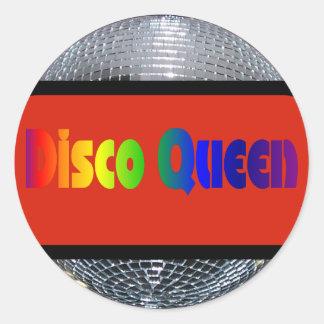 Bola de discoteca de plata brillante de la reina pegatina redonda