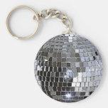 Bola de discoteca de plata llaveros