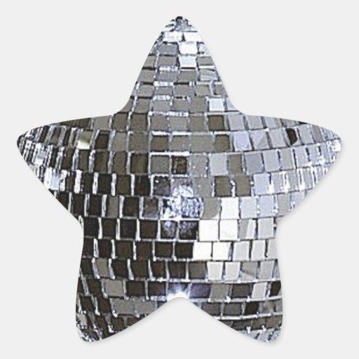 Bola de discoteca de plata calcomania forma de estrella
