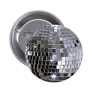Bola de discoteca de plata pin redondo de 2 pulgadas