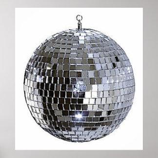 Bola de discoteca de plata póster