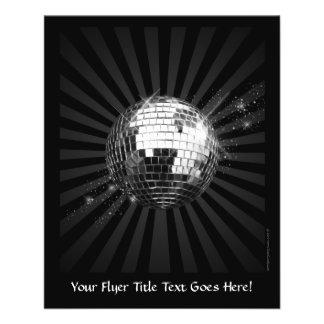 Bola de discoteca del espejo en negro tarjetas informativas