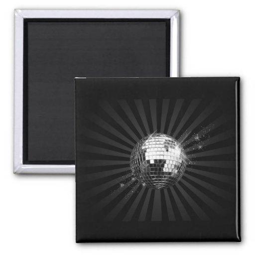 Bola de discoteca del espejo en negro iman para frigorífico