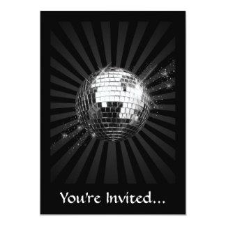 Bola de discoteca del espejo en negro invitaciones personalizada