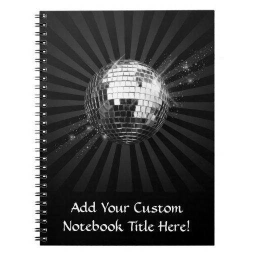 Bola de discoteca del espejo en negro libros de apuntes con espiral