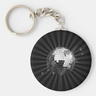 Bola de discoteca del espejo en negro llavero personalizado