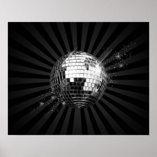 Bola de discoteca del espejo en negro poster