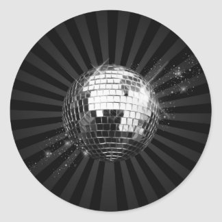 Bola de discoteca del espejo en negro pegatina redonda