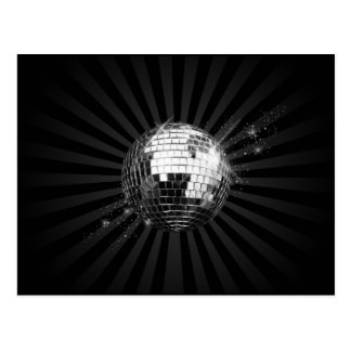 Bola de discoteca del espejo en negro tarjeta postal