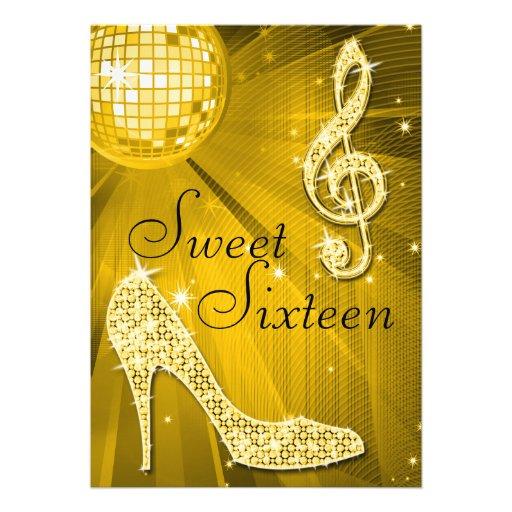 Bola de discoteca del oro y dulce 16 de los talone invitacion personalizada
