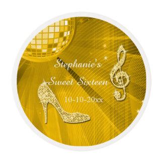 Bola de discoteca del oro y dulce dieciséis de los láminas de glaseado redondas
