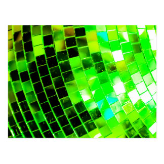 Bola de discoteca enrrollada verde postales