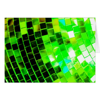 Bola de discoteca enrrollada verde tarjeta de felicitación