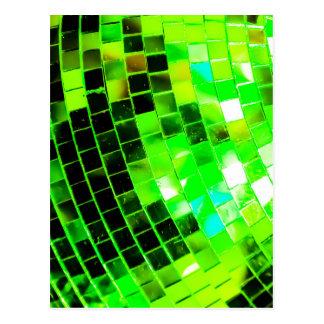 Bola de discoteca enrrollada verde tarjeta postal