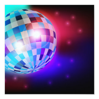 Bola de discoteca invitación 13,3 cm x 13,3cm