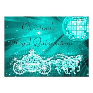 Bola de discoteca, princesa Coach y caballos Quinc Invitacion Personalizada