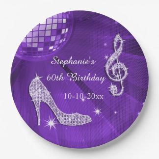 Bola de discoteca púrpura y cumpleaños de los plato de papel de 9 pulgadas