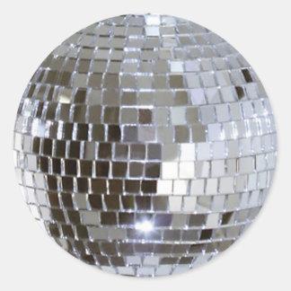 Bola de discoteca reflejada 1 pegatina redonda