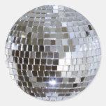 Bola de discoteca reflejada pegatina redonda